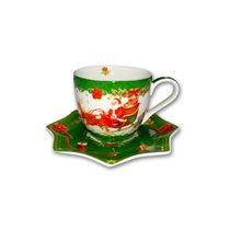 "Cana si farfurioara 250 ml ""Vintage Christmas"", verde - Nuova R2S"