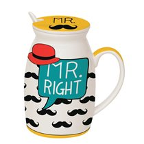"Cana cu capac si lingura 300 ml ""MR Right"" - Nuova R2S"