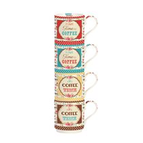"Set 4 cani portelan 275 ml ""It's always time for coffee"" - Nuova R2S"