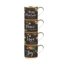 "Set 4 cani portelan 275 ml ""Peace, Love, Joy"" - Nuova R2S"