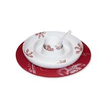 Set 4 piese servire aperitive, alb cu rosu - Nuova R2S