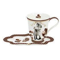 "Cana cu farfurioara din portelan ""Vintage Chocolate"" 350 ml - Nuova R2S"