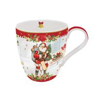 "Cana din portelan rosie ""Vintage Christmas"" 350 ml, rosu - Nuova R2S"