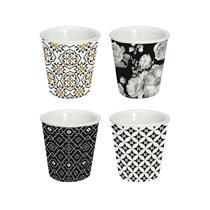 """Set 4 cesti cafea din portelan """"Trend & Colours"""", negru - Nuova R2S"""