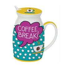 "Cana cu capac si lingura 300 ml ""Coffee Break"" - Nuova R2S"